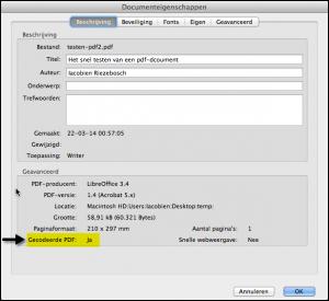 Screenshot 'Eigenschappen', onderste regel toont of pdf gecodeerd is - vergroot afbeelding