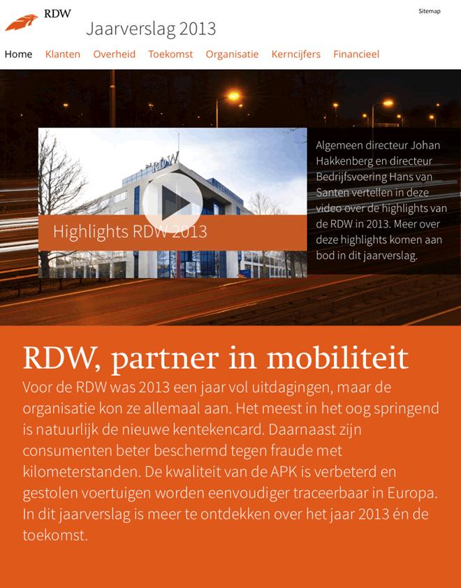 screenshot website RDW Jaarverslag 2013