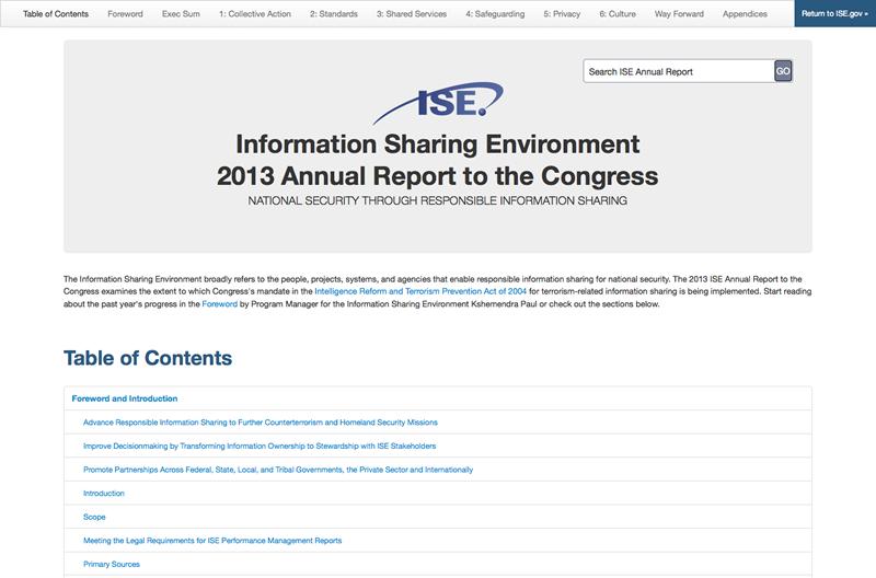 Screenshot van ISE 2013 Annual Report to the Congress