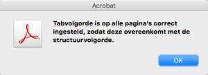 Screenshot van melding dat tabvolgorde is ingesteld