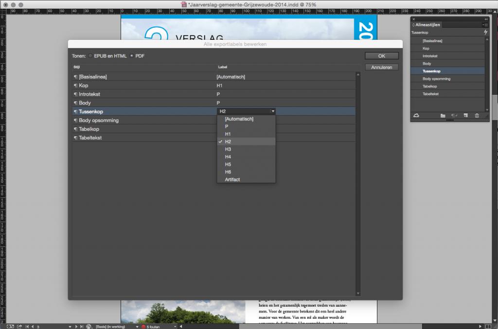 Screenshot alineastijlen exporteren