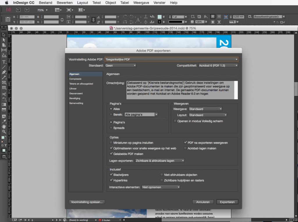 Screenshot deelvenster met opties om het bestand te exporten