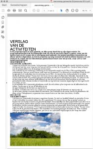Screenshot van het jaarverslag in 1 kolom