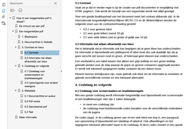 Screenshots bladwijzers in Acrobat Reader