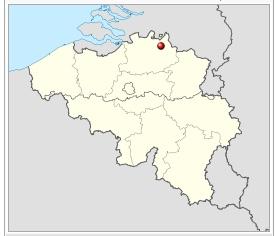 Voorbeeld: afbeelding van kaartje met daarin stip op kaart om aan te geven waar Turnhout ligt