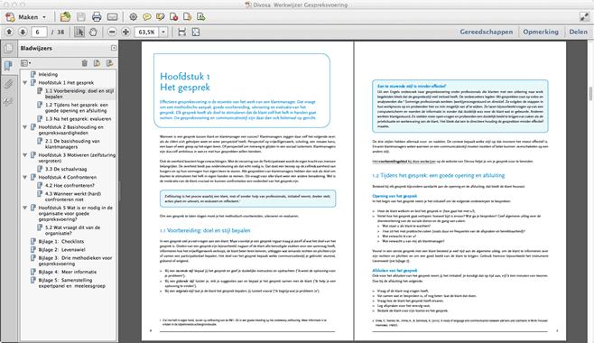 Werkwijzer opgemaakt als brochure om te printen: 2 naast elkaar liggende bladzijden